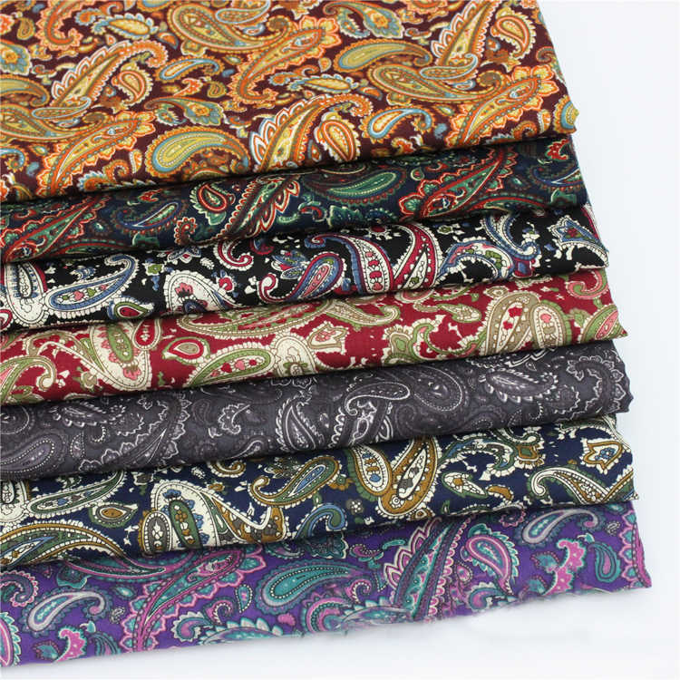 meter cotton poplin fabric for dress shirt vintage paisley material sewing patchwork brown red black purple paisley fabric retro