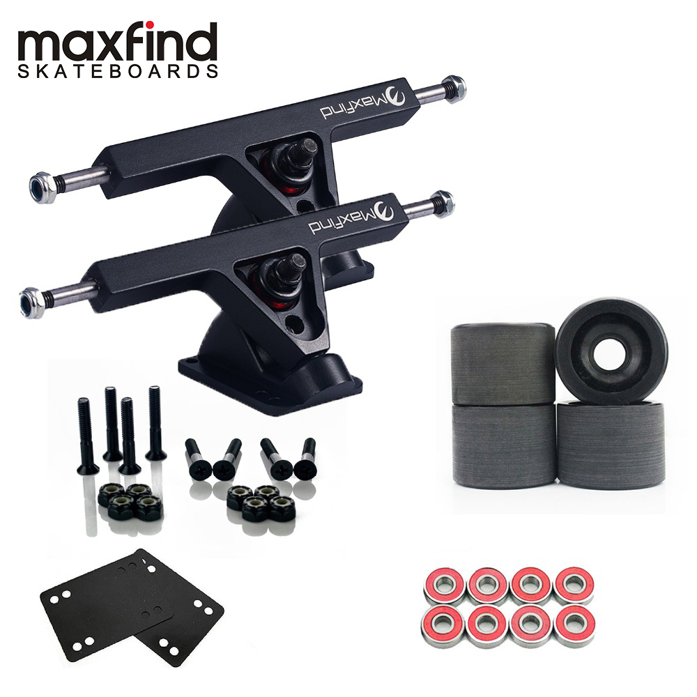 1 Pair Longboard Truck Wheels Set 7' Trucks, 4pcs PU Wheels, 8pcs Bearings And Enough Of Steel Hardware