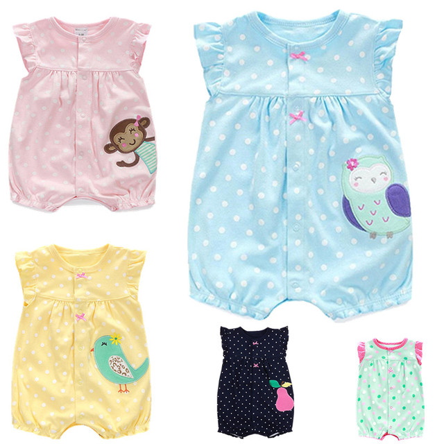 e213948389e 2018 Summer Newborn Cotton Baby Girls Clothes Cute Cartoon Animal Baby  Rompers Infant Toddlers Short Sleeve Jumpsuit Costumes