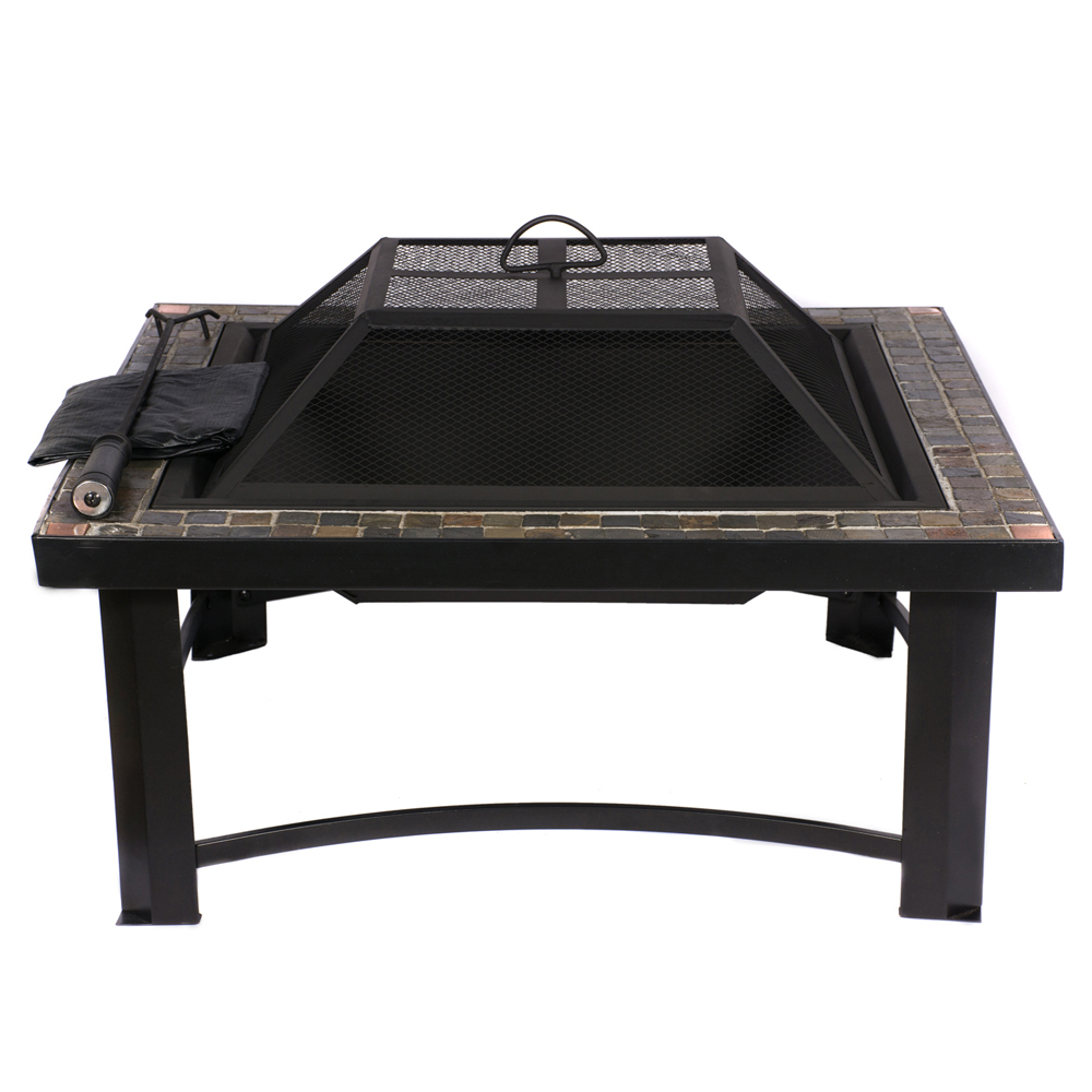 HIO Inch Natural Slate Top Outdoor Fire Pit With Spark Screen - 30 inch fire pit table