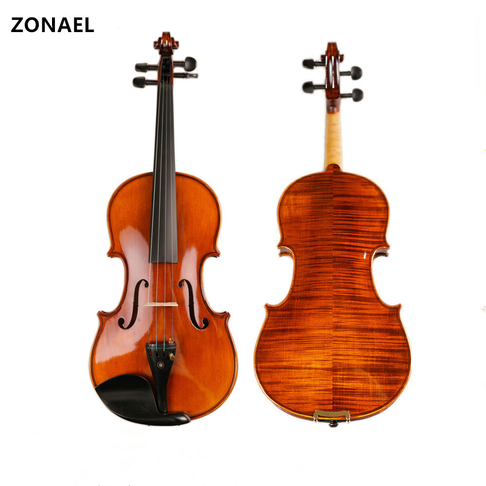 ZONAEL Handmade 4/4 Full Size Natural Acoustic Violin Fiddle with Case Bow Rosin 4/4 3/4 1/2 1/4 V005 beautiful blue violin 4 4 1 4 3 4 1 2 1 8 size available violin full set with bow rosin bridge case colorful violins available