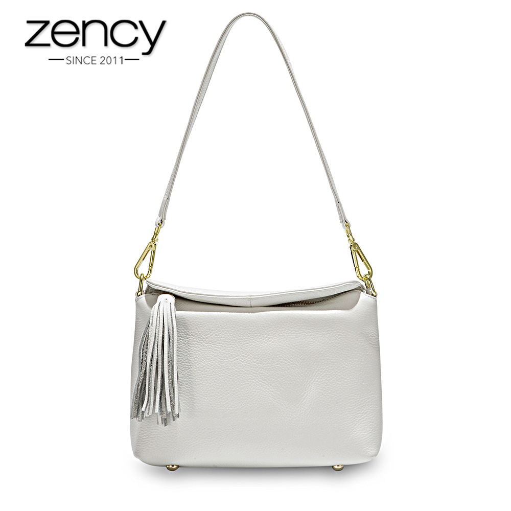 Zency New Arrivals White Women Shoulder Bag 100% Genuine Leather Handbag Black Fashion Lady Crossbody Purse Tote Apricot-in Shoulder Bags from Luggage & Bags    1