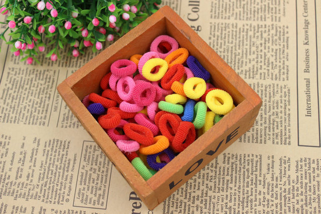 Wholesale 100Pcs/lot Colorful Child Kids Hair Holders Cute Rubber Hair Band Elastics Accessories Girl Charms Tie Gum