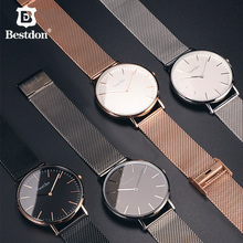 Bestdon 5.5mm Ultra-thin Couple Watches Luxury Brands Japanese Quartz Waterproof Fashion Wrist Watch Valentine Gift For Lovers