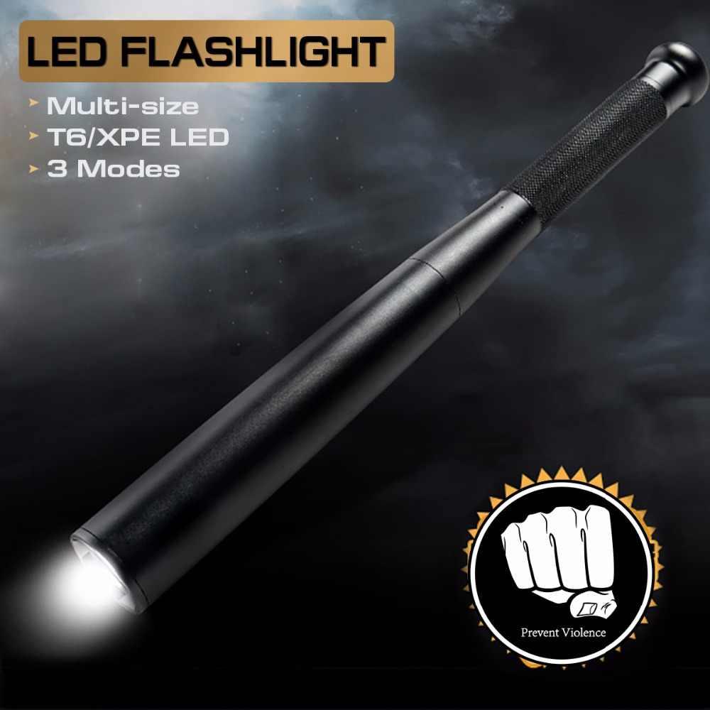 T6 светодиодный тактический Бейсбол Летучая мышь с длинным фонарик факел лампы 3 режима длинные фонарик самообороны аварийный фонарик с AA Батарея
