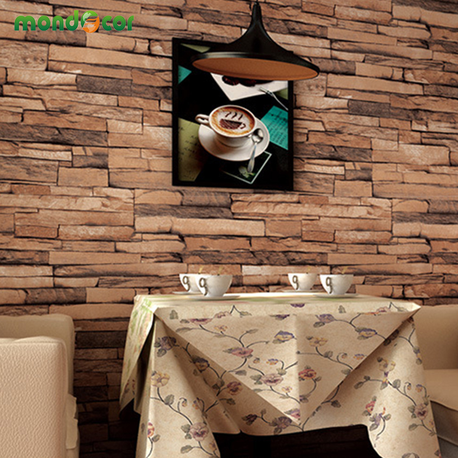 Mondecor 10M 3D PVC Modern Wallpaper Roll for Living Room Bedroom Vintage Vinyl Waterproof Brick Stone