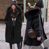 2018 New Large Fur Collar Winter Jacket Women Long Parkas Casual Outwear Hooded Jackets Thickening Warm Loose Women Winter Coat