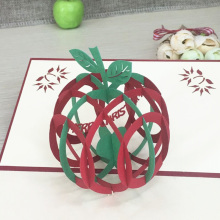 1pcs Green Christmas Apple 3D Laser Cut Pop Up Paper Handmade Postcard Custom Xmas Greeting Cards With Envelope Gifts For Lover