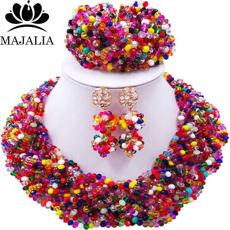 Majalia African Fashion Women Jewelry Set Multicolors Nigerian Wedding Jewelry Beaded Sets 12CB002Majalia African Fashion Women Jewelry Set Multicolors Nigerian Wedding Jewelry Beaded Sets 12CB002