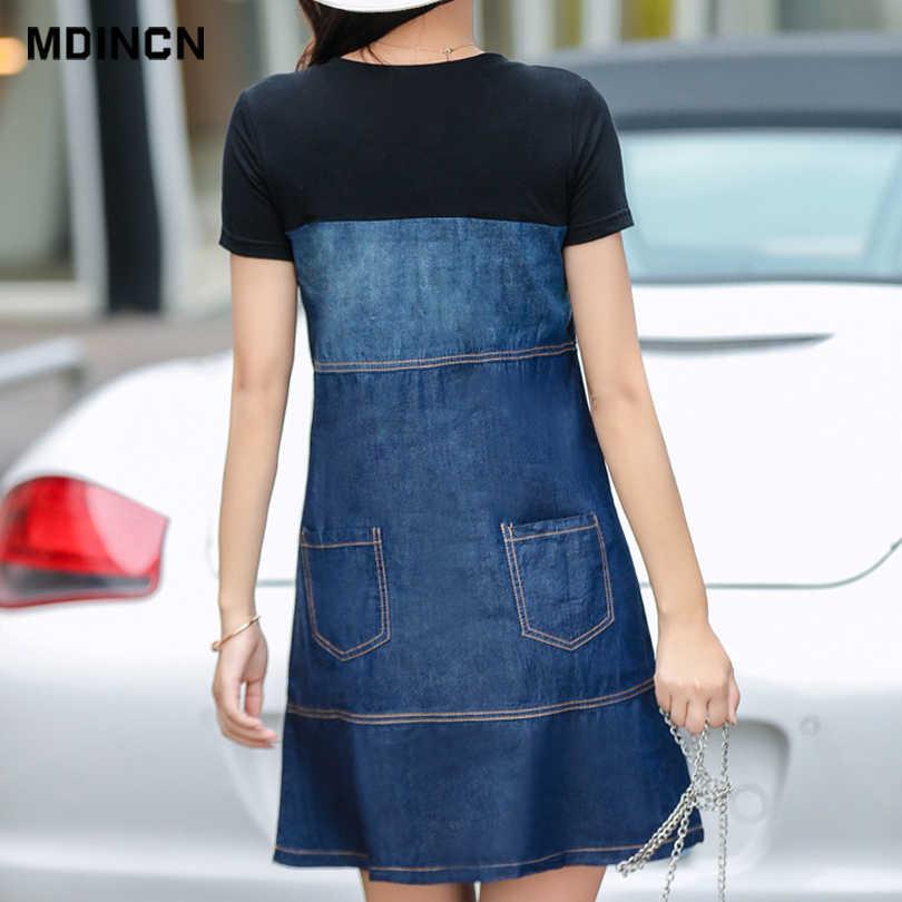 MDINCN, весна и осень, новое женское платье, повседневное, сшитое, джинсовое платье, Корейская версия, свободное, женское платье