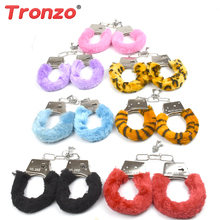 Tronzo Pretend Play Furry Soft  HandCuffs With Keys Funny Police Role Cosplay Tools Police Toy Gifts For Children Drop Shipping(China)