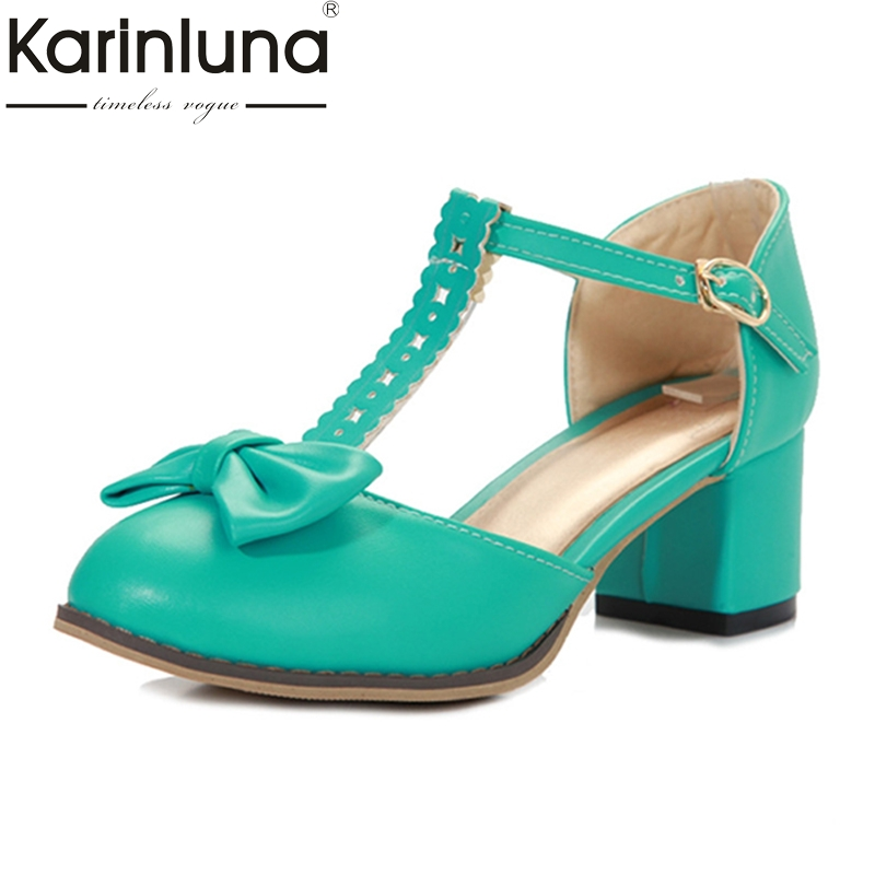 KARINLUNA big size 32-43 Women shoes square heels Woman sandals Bowtie t-strap Party Sweets Hot sale girls dating 2014 new fashion square heel shoes shallow mouth bowtie shoes dating casual pumps hot sale eur size 34 43