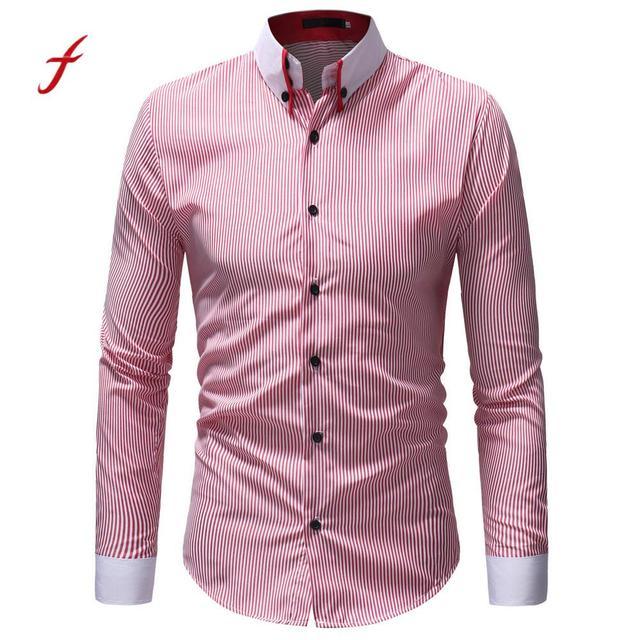 cec489bea3 Feitong 2018 Koszule Mężczyzn Oxford Slim Fit Koszula męska Jesień Zima  Casual Striped Drukuj Z Długim
