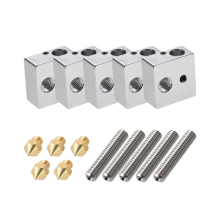 5Pcs/Set Anet A8 1.75Mm Teflon Throat Tube 0.4Mm Extruder Nozzle Print Heads M6 Heater Block Hotend For 3D Printer Parts цена 2017