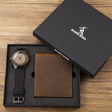 Buying Engraving Men Watch Get Free Customized LeatherWallet Personalized Present Set Christmas Gift to Father Husband Boyfriend(China)