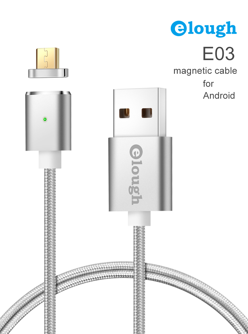 Elough E03 Magnetic Micro USB Cable Charger For Fast Charging And Magnetic Data Cable For Phones 2