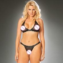 купить Sexy Black See Through Mesh Transparent Lingerie Set Erotic Women Halter Rivet Hollow Out Sheer Bikini Set Lingerie Underwear по цене 736.8 рублей