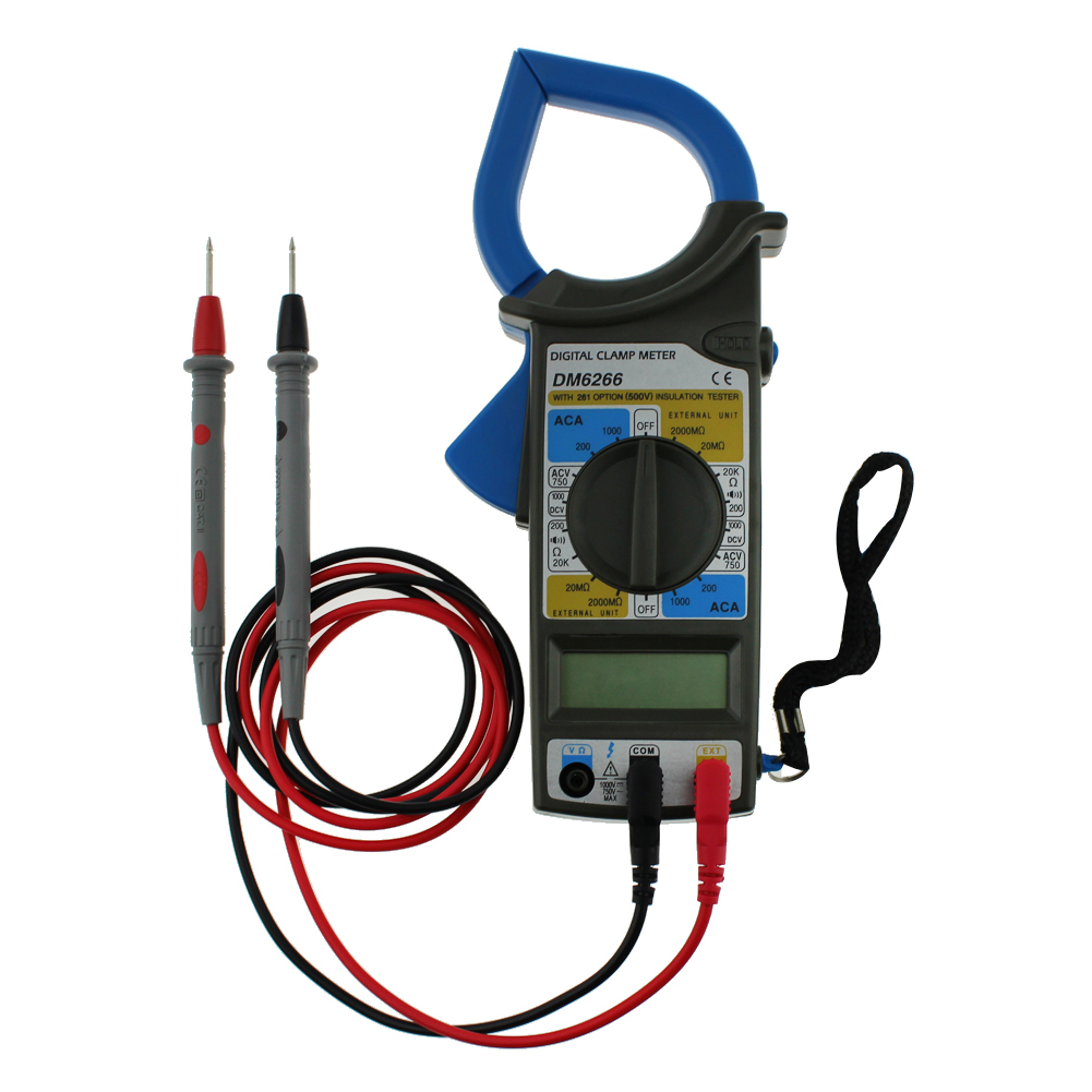 DM6266 Electronic LCD Clamp Meter Digital Multimeter AC DC Voltmeter Ammeter Ohmmeter Current Voltage Resistance Tester
