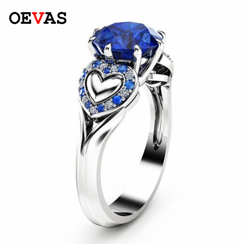 New Fashion Silver Color White Blue Stone Crystal Heart Wedding Rings For Women High quality AAA CZ Finger Ring Party Jewllery