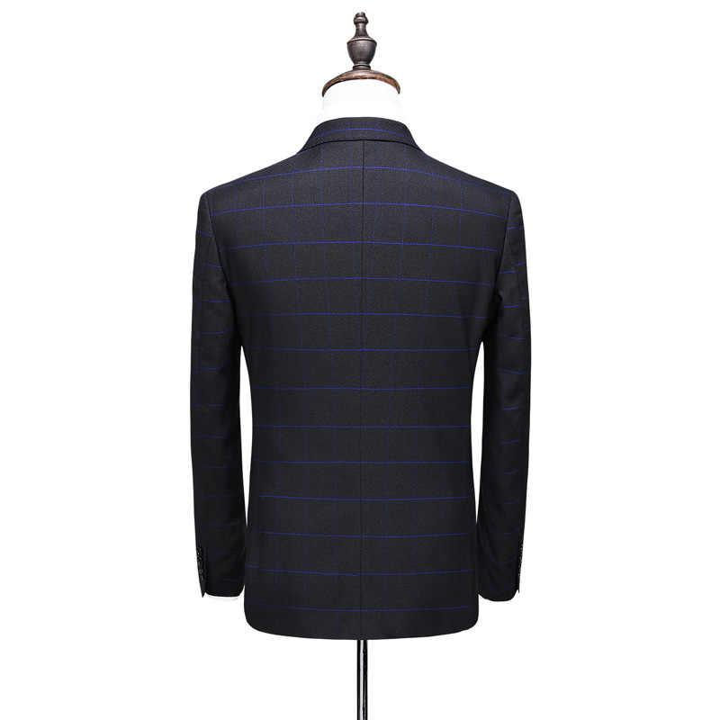 ( Jacket + Vest + Pants ) 2019 New Men's Fashion Boutique Plaid Wedding Dress Suit 3 piece Male Formal Business Casual Suits