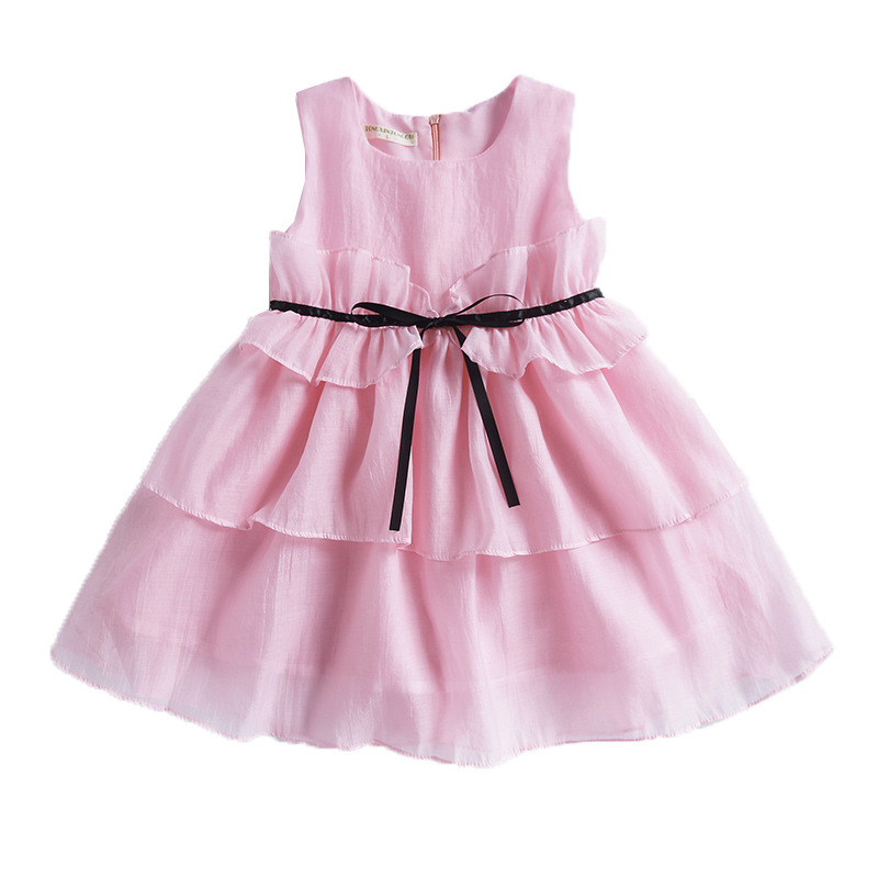 Summer Girls Fashion O Neck Sleeveless Sashes Tiered Ruffles Pink Princess Dress Kids Baby Clothes Children Performance Dresses new brand 2017 girls long dress summer fashion beach printing mid calf children casual o neck sleeveless clothes 6 15y kids hot