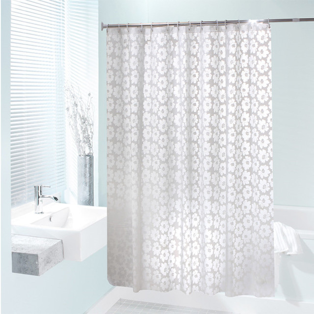 New Home Decor Bathroom Shower Curtain With Hooks European Style White Flower Curtains PEVA Waterproof Bath