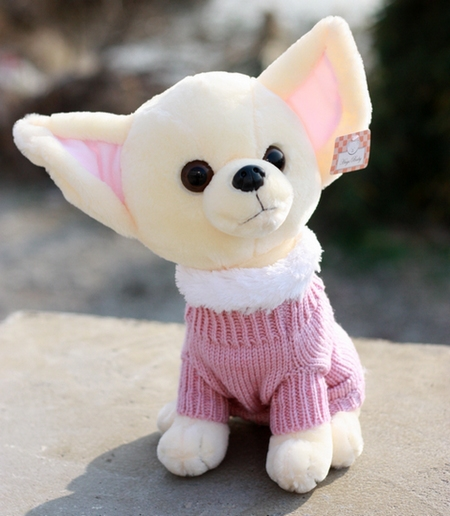 Plush doll 1pc 22cm cartoon little sweater Chihuahua dog home decoration stuffed toy creative gift for baby