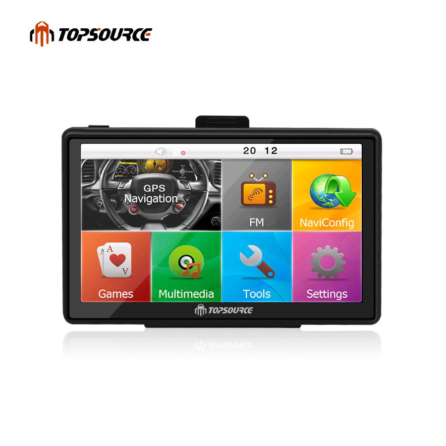 TOPSOURCE 7 inch HD Car GPS Navigation WinCE 6.0 FM 8GB Vehicle Truck GPS Sat Nav Free Map Update Russia/USA/Spain/France junsun 7 inch hd car gps navigation bluetooth avin capacitive screen fm 8gb vehicle truck gps europe sat nav lifetime map