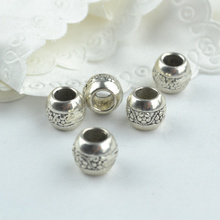 15 pcs Wholesale Metal Round Shape Beads Tibetan Silver big hole Beads for Bracelet Jewelry Making 18102