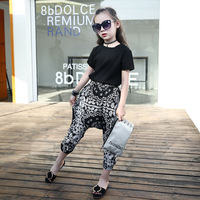 2017 Children Summer Girls Black T Shirt Loose Harem Pants Clothing Sets Floral Fashion Kids