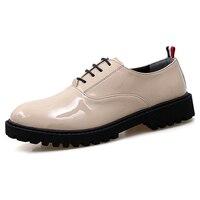 光沢のあるパテントレザーシューズメンズハンサム男の子ウエディングオックスフォード靴厚いソールマイクロファイバードレスパーティーダンスシューズ男