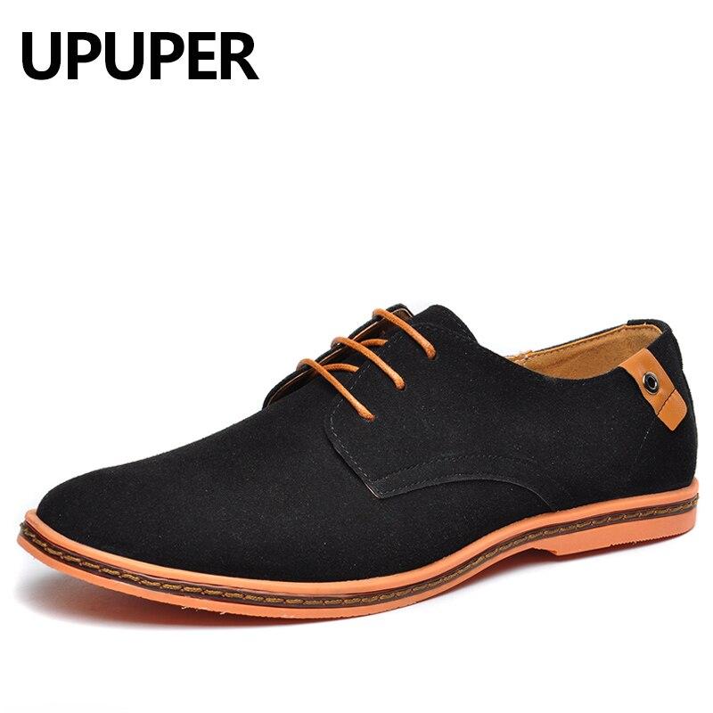 UPUPER Cow Suede Leather Shoes Men 2018 Fashion Men Casual Shoes Cheap Oxfords Shoes for Students Black Plus Size 38-48 suede