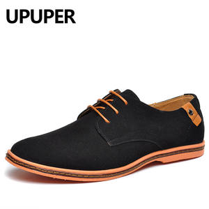 UPUPER Shoes Oxfords Cow-Suede Plus-Size Fashion Students Cheap Black 38-48 Men