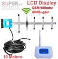 W/antena yagi y kits de cable de la pantalla LCD 55dbi GSM de refuerzo repetidor GSM 900 mhz teléfono móvil de refuerzo repetidor gsm señal ampliadora
