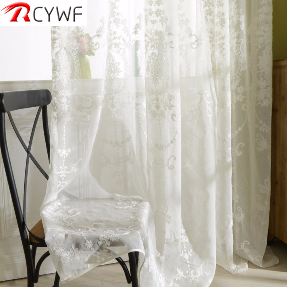 Tulle Curtains Window Bedroom Living-Room Embroidered Fresh-Green Voile White European