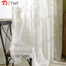 Embroidered White Tulle Curtains For Living Room European Voile Sheer Window Bedroom Lace Wind Fresh Green