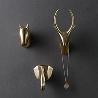 Wall decoration hook deer head wall hanging porch key wall hook creative decorative painting Nordic wall key holder mounted