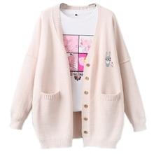 韓国かわいいウサギの女性のカシミヤのセータージャンパーコートかわいいバニー刺繍ガール長袖大サイズ暖かいニットカーディガン