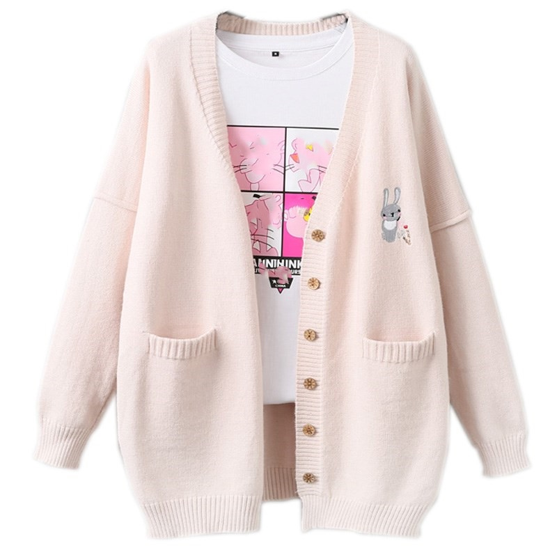 Korean Kawaii Rabbit Women Cashmere Sweater Jumper Coat Cute Bunny Embroidery Girl Long Sleeve Large Size Warm Knit Cardigans