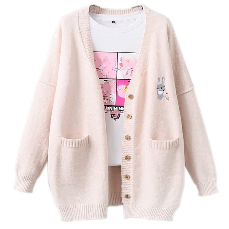 Korean Kawaii Rabbit Women Cashmere Sweater Jumper Coat Cute Bunny Embroidery Girl Long Sleeve Large Size Warm Knit Cardigans