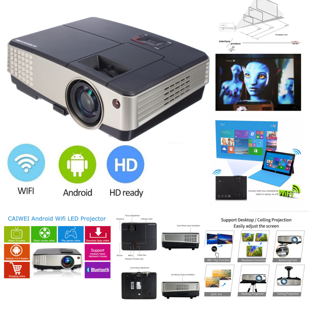 7000 Lumens A3+AB Projector 1080P Full HD LCD Wifi Home Theater Cinema 72W LED Android 4.4 Bluetooth Multimedia Beamer