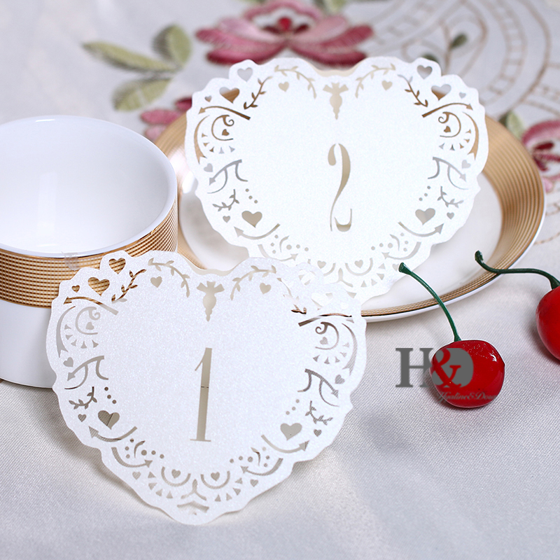 10pcsset Ivory Pearl Paper Table Number Table Cards From 1 To10