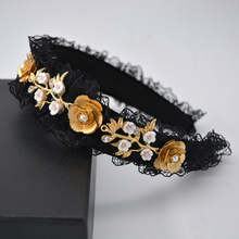 baroque hair accessories lace headband for women black band Fashion Floral hairband jewel rhinestone face wash