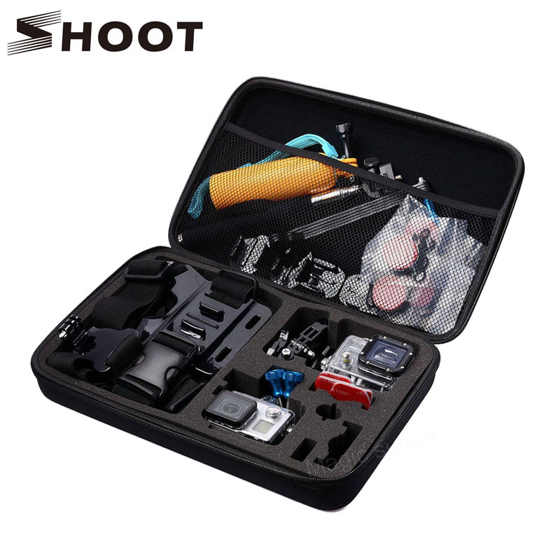 SHOOT Portable Large Size Waterproof Camera Case Eva Hard Bag Box for Gopro Hero 6 5 5 4 Session SJCAM SJ4000 Xiaomi yi 4K Cam 2pcs hard case storage box protective cover for xiaomi yi gopro hero 5 4 3 hero5 sjcam sj4000 sj5000 camera rechargeable battery