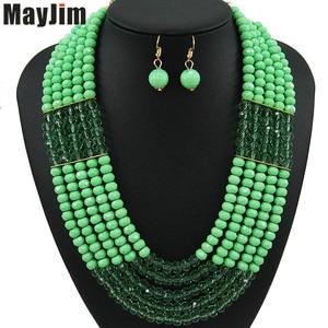 Набор ювелирных изделий MayJim, набор ювелирных изделий ручной работы с золотыми цепочками черного цвета, комплект винтажных ювелирных изделий из нигерийских кристаллов в Дубае