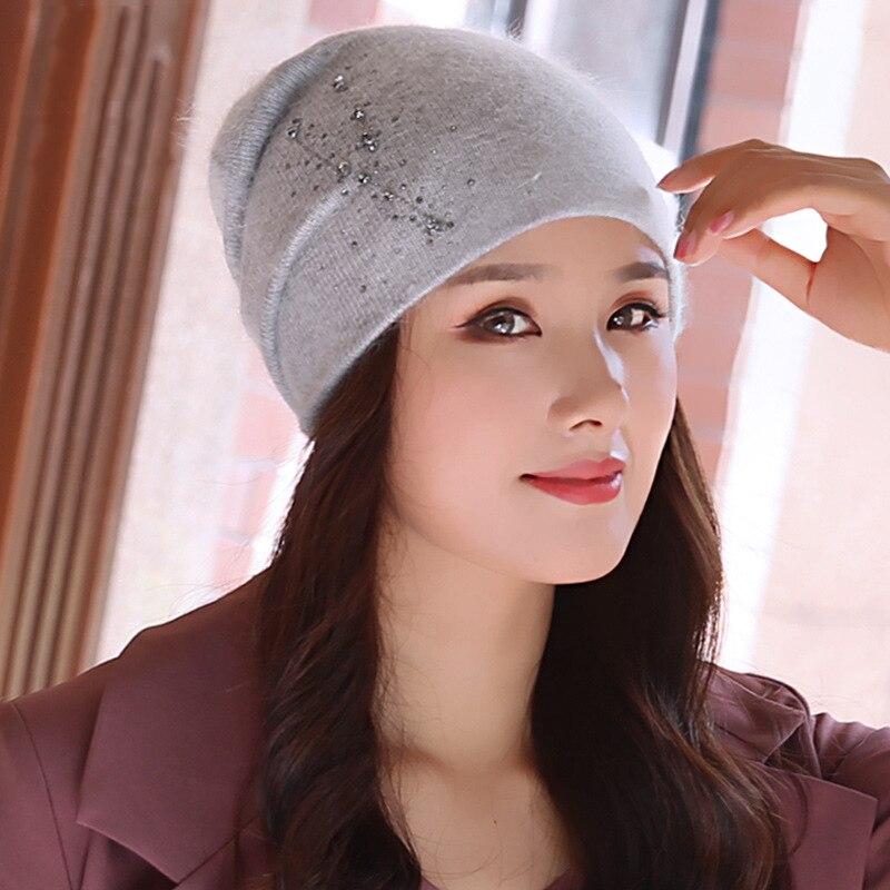 Beanie Women Winter Angora Knit Hat Warm Rhinestone Headwear  Soft Casual Slouch Stretchy Outdoor Ski Accessory (1)