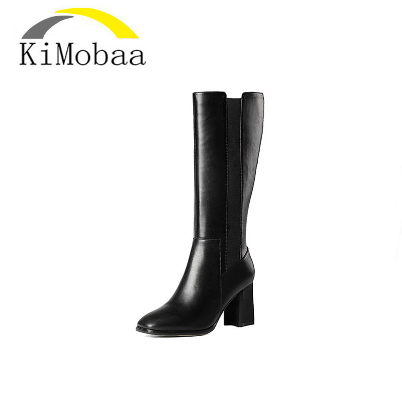 Kimobaa Genuine Leather+PU Boots Knee-Length Winter Boots For Women Warm Wool Shoes Platform Long Boots Low Heels New 2017 TX50 2015 natural genuine leather boots sexy vintage heels platform warm winter long boots snow knee high knight boots for women