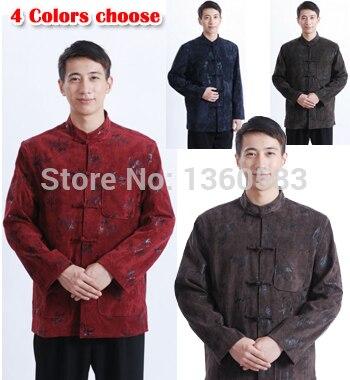 Бесплатная Доставка 2016 Китайская традиционная Куртка тан костюм мужской одежды мандарин воротник шерстяной ткани китайский стиль пальто куртки 4 цвет