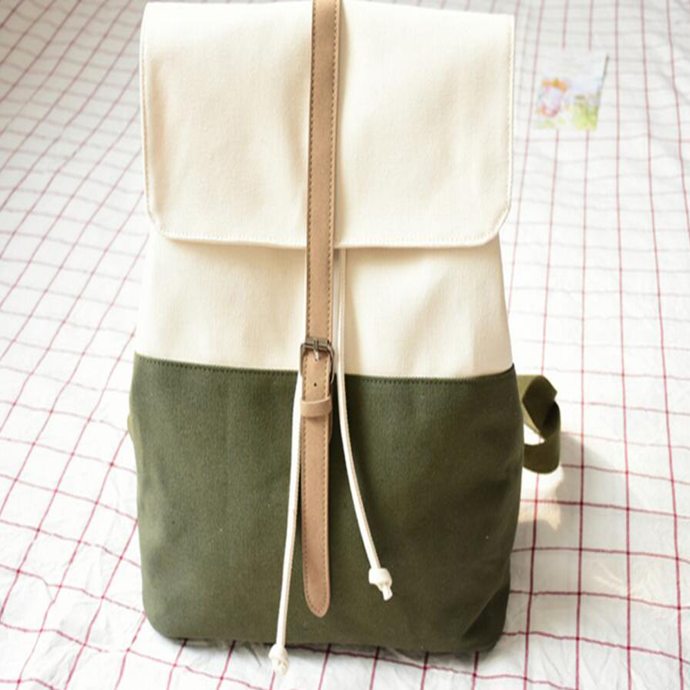 POY Original Japanese Style Fresh Female Canvas Backpack Literary College Style Backpack With String Casual College