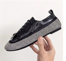все цены на Black Women Shoes Women Sneakers 2019 Spring New Korean Rhinestone Bling Lace Up Women Flats Womens Shoes Woman Zapatos De Mujer онлайн